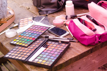 Professional makeup brushes and tools, make-up products set.