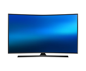 Vector UHD Smart Tv with curved screen on white background.