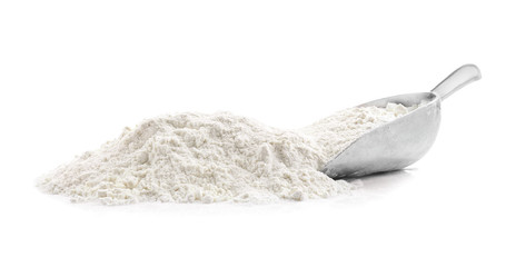 Pile of flour on white background