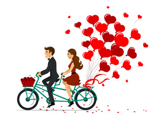 Romantic couple man and woman on a date driving bike with heart  balloons. isolated vector illustration