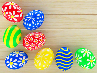 Colorful handmade Easter eggs with space for text on wooden background . 3D illustration