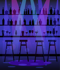 Bar counter in night club, restaurant, disco
