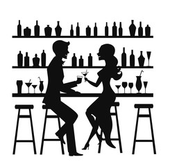 Man and woman night out date, romantic elegant couple sitting at the bar counter, drinking cocktails silhouette vector illustrtion