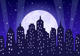 Moonlight over night city vector illustration