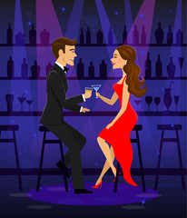 Man and woman night out date, romantic elegant couple sitting at the bar counter, drinking cocktails