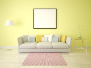 Mock up poster of a modern living room with a stylish sofa on a yellow background.