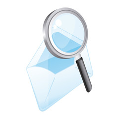 magnifying glass with letter icon, vector illustration design