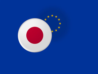 European Union Trade Concept: Japan Flag Button On Blurred EU Flag, 3d illustration