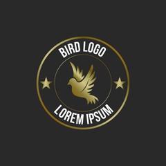 Dove Bird Hipter Logo. Isolated on Black Background.