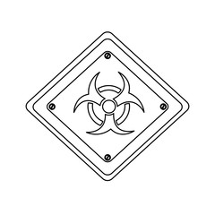 silhouette metal biohazard warning sign icon, vector illustration design