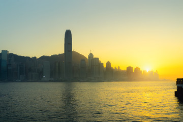 Cityscape and skyline at victoria harbour in hong kong city.
