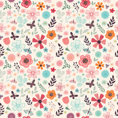 Floral seamless pattern with flowers, butterflies and plants