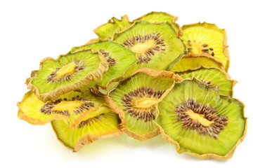 dried slices of kiwi fruits isolated on a white background