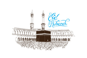 Eid Mubarak text with Mecca mosque sketch in vector illustration.