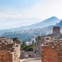 brick walls of ancient Teatro Greco in Taormina