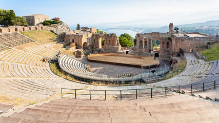 above view of ancient Teatro Greco in Taormina Wall mural