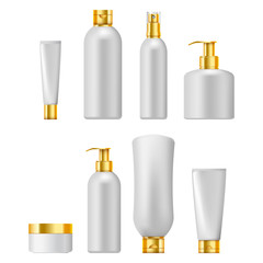 Set of cosmetic packaging with golden caps, isolated on white background. Cosmetic package for cream,  shampoo, liquid soap and spray