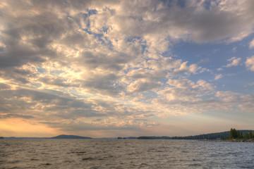 Evening sun over lake
