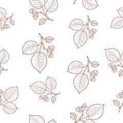 Seamless pattern with hazelnut tree branches.
