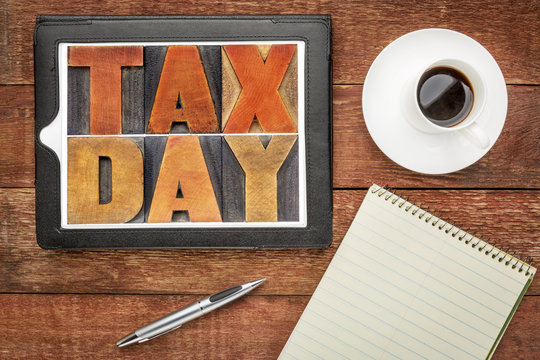 tax day in vintage wood type