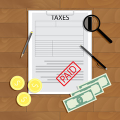 Taxes paid vector concept