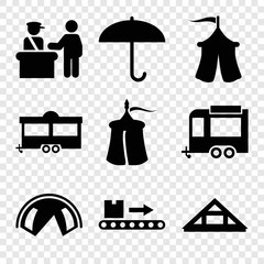 Set of 9 tourist filled icons