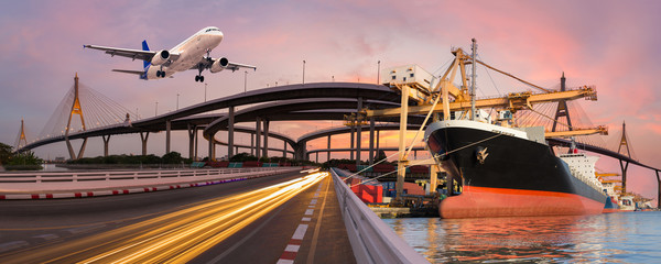 Panorama transport and logistic concept by boat plane for logistic Import export background Wall mural