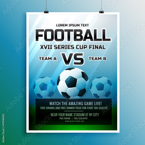 Football Game Event Tournament Invitation Design Template Stock