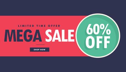 mega sale advertising voucher and banner design with offer details