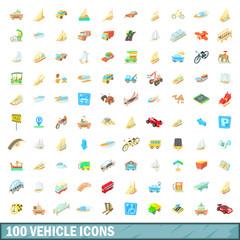 100 vehicle icons set, cartoon style
