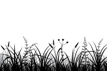 Wall Mural - Meadow grass silhouette black and white