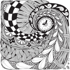 Fantastic watches, clock in zentangle style.