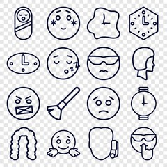 Set of 16 face outline icons