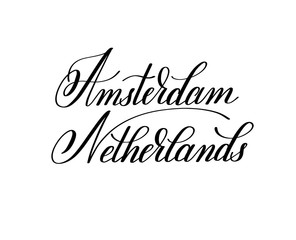 hand lettering the name of the European capital - Amsterdam Neth