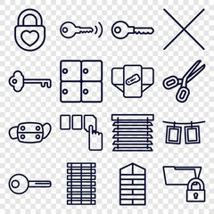 Set of 16 close outline icons