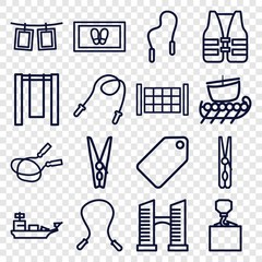 Set of 16 rope outline icons