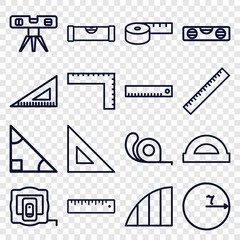 Set of 16 ruler outline icons