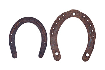 Old rusty vintage good luck horseshoe isolated on white background