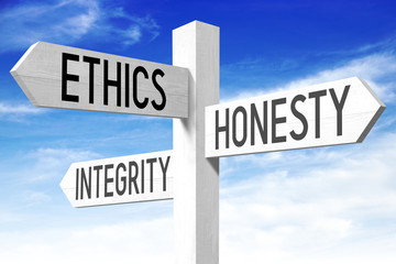 Ethics concept - wooden signpost