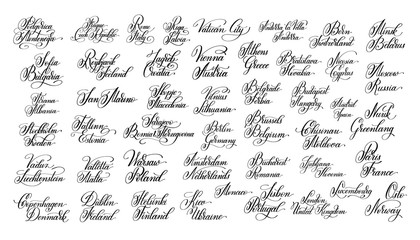 hand lettering the name of the European all capital collection