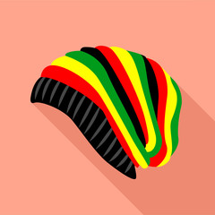 Rasta hat icon, flat style