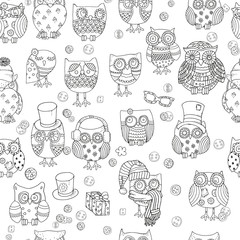 Seamless pattern for coloring book. Owls.