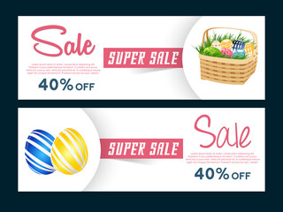 nice and beautiful vector Header for Easter Sale with nice and creative design illustration in a background.
