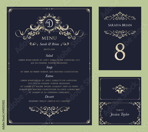 ornate vintage vector templates set wedding menu table number and