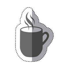 sticker monochrome silhouette mug coffee with smoke icon vector illustration