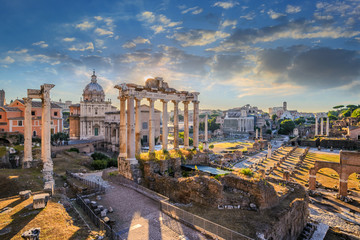 Printed roller blinds Central Europe Roman Forum when sunrise, Rome, Italy