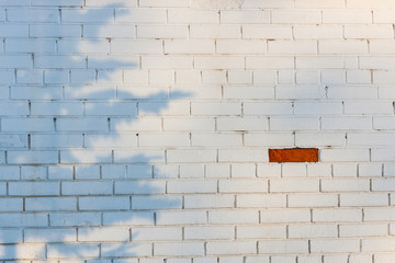 One exceptional red brick on the white brickwall Wall mural