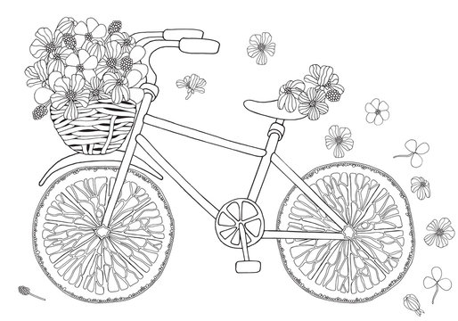 Bike with flower in basket on white background.