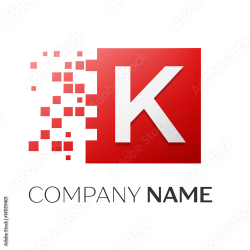 letter k vector logo symbol in the colorful square with shattered blocks on white background