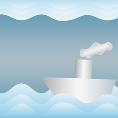 Paper boat in the paper sea, wavy abstract background, EPS 10 illustration